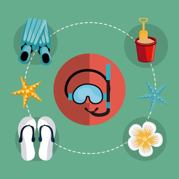Zomer, vakanties en reizen Gratis Vector
