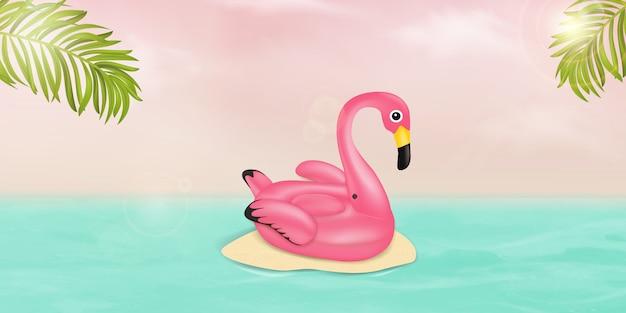Zomer vector banner ontwerpconcept met roze flamingo zwembad drijven, tropische palmbladeren en oceaan. zomervakantie vakantie, reizen, tropisch strand en zee. Premium Vector