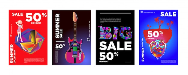 Zomer verkoop 50% korting poster ontwerpsjabloon Premium Vector
