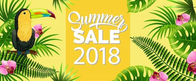 Zomer verkoop, achttien gele banner met palmbladeren, tropische bloemen Gratis Vector