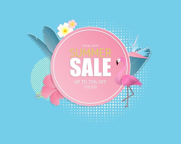 Zomer verkoop banner achtergrond in papier knippen stijl. illustratie ontwerp. poster. folder. brochure. banner. sjabloon. promotionele reclame. Premium Vector