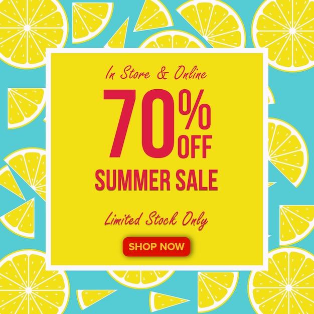 Zomer verkoop banner met citroen achtergrond Premium Vector