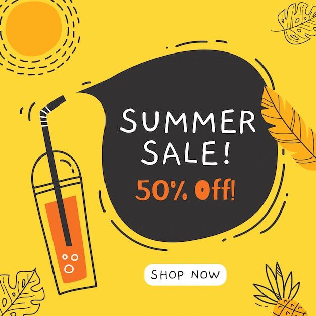 Zomer verkoop banner met doodle elementen Premium Vector
