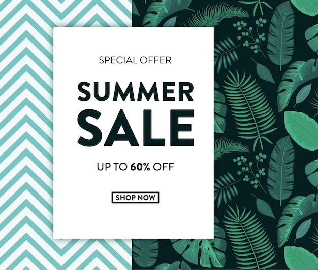 Zomer verkoop banner met tropische ontwerp Premium Vector