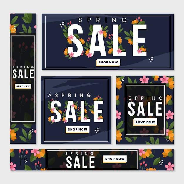 Zomer verkoop banner sjablonen met bloemen Gratis Vector