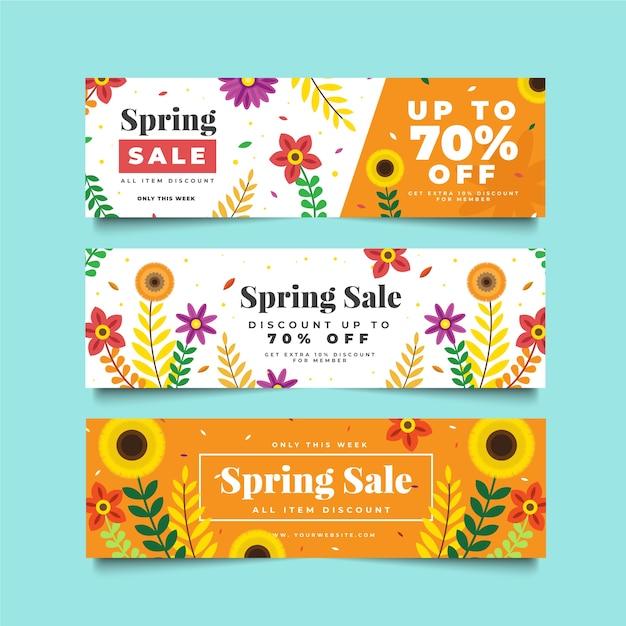 Zomer verkoop banner sjablonen met zonnebloemen Gratis Vector