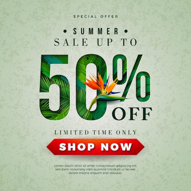 Zomer verkoop bannerontwerp met parrot bloem en tropische palmbladeren Gratis Vector