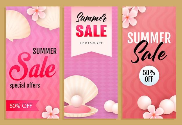 Zomer verkoop beletteringen set, zeeschelpen, parels en bloemen Gratis Vector