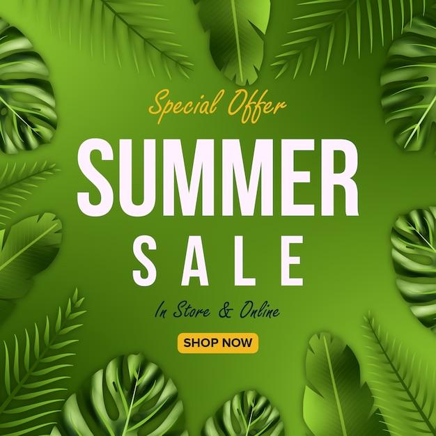 Zomer verkoop biedt banner ontwerp met bladeren achtergrond Premium Vector