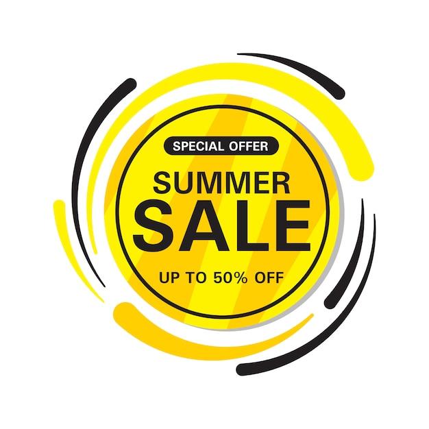 Zomer verkoop cirkel banner Premium Vector