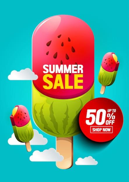 Zomer verkoop ijs Premium Vector