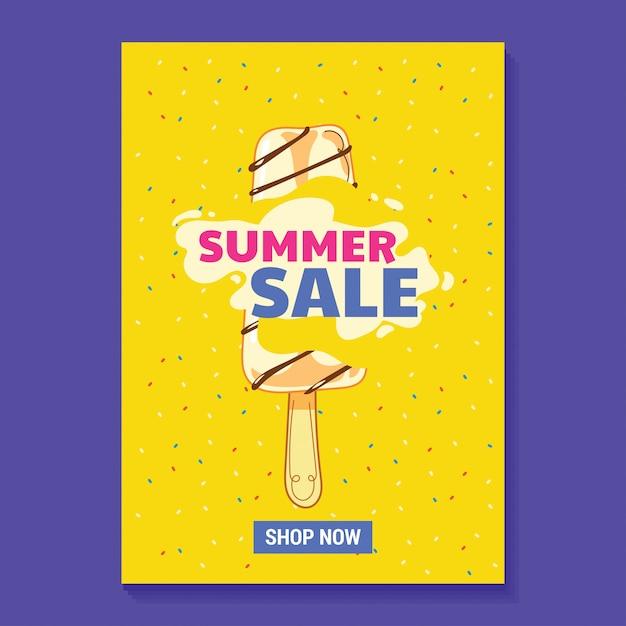 Zomer verkoop illustratie poster met ijslolly, strand en tropische bladeren achtergrond Premium Vector