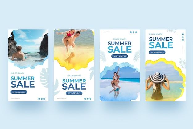 Zomer verkoop instagram verhalen mensen op het strand Gratis Vector