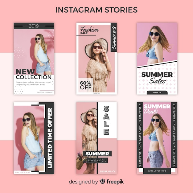 Zomer verkoop instagram verhalen sjablonen Gratis Vector