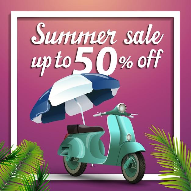 Zomer verkoop, korting vierkante webbanner met scooter Premium Vector