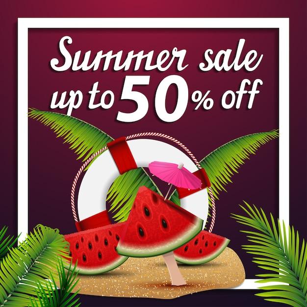 Zomer verkoop, korting vierkante webbanner met watermeloen plakjes Premium Vector