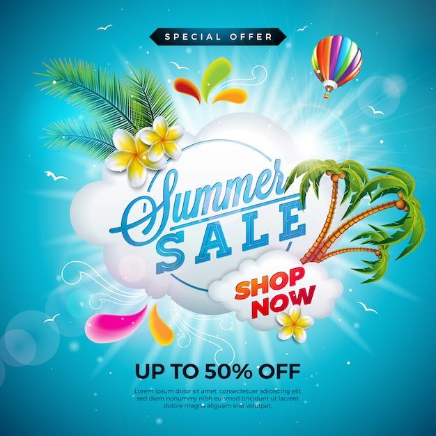 Zomer verkoop ontwerp met bloem en exotische palm bladeren op blauwe achtergrond Premium Vector