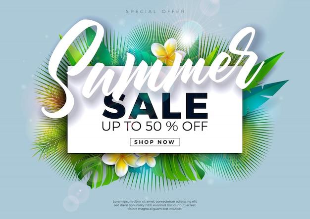 Zomer verkoop ontwerp met bloem en exotische palmbladeren op blauwe achtergrond. tropische speciale aanbieding illustratie met typografie brief Premium Vector
