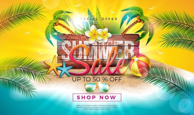 Zomer verkoop ontwerp met bloem, exotische palmbladeren en typografie brief op vintage houten bord. tropische speciale aanbieding illustratie Premium Vector