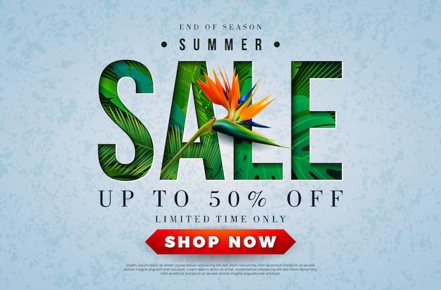 Zomer verkoop ontwerp met papegaai bloem en tropische palmbladeren Premium Vector