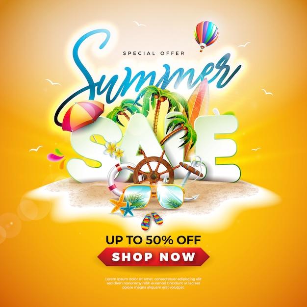 Zomer verkoop ontwerp met zonnebril en palmbomen Premium Vector