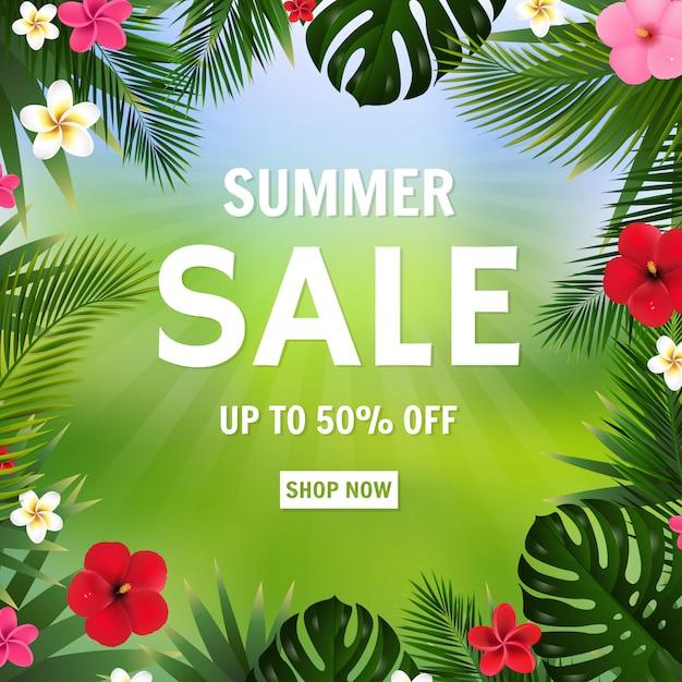 Zomer verkoop poster bokeh en tropische bloemen Premium Vector