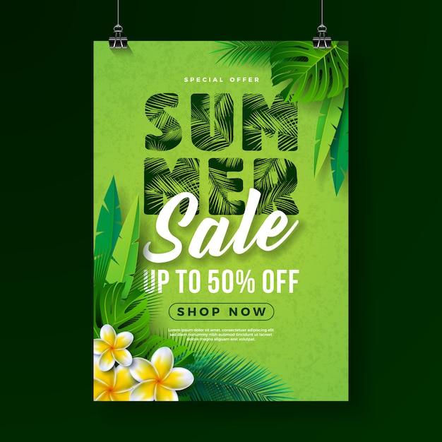 Zomer verkoop poster ontwerpsjabloon met bloem en exotische palmbladeren Premium Vector