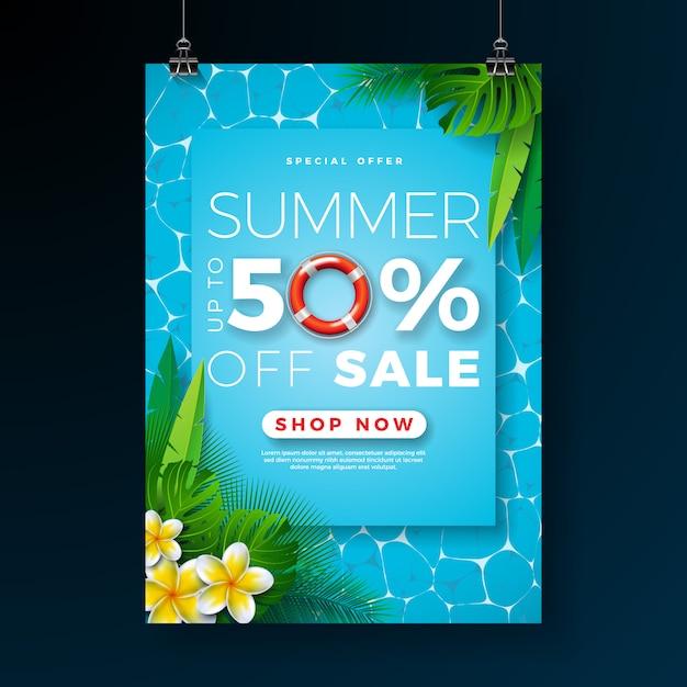 Zomer verkoop poster ontwerpsjabloon met bloem en palm bladeren op zwembad achtergrond Gratis Vector