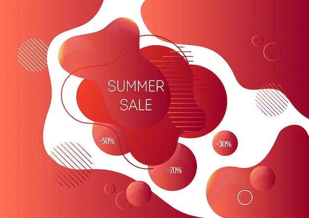 Zomer verkoop reclamebanner sjabloon met trendy abstracte vloeibare vormen Premium Vector