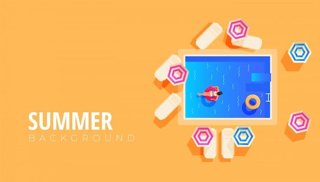 Zomer verkoop spandoekontwerp met platte ontwerp van rustende mensen in het zwembad, reizen en vakanties Premium Vector
