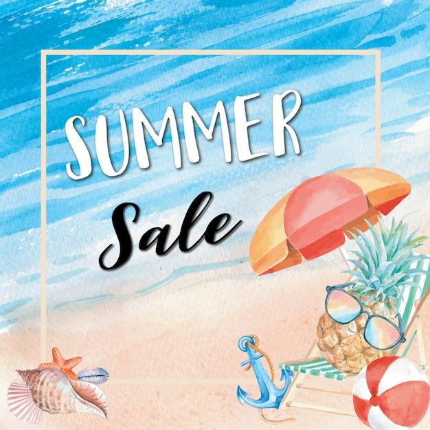 Zomer verkoop vakantie achtergrond Gratis Vector
