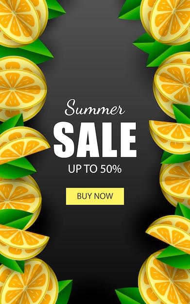 Zomer verkoop vector sjabloon voor spandoek met citroenen. Premium Vector