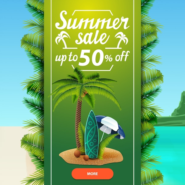 Zomer verkoop, vierkante korting webbanner sjabloon voor uw bedrijf Premium Vector
