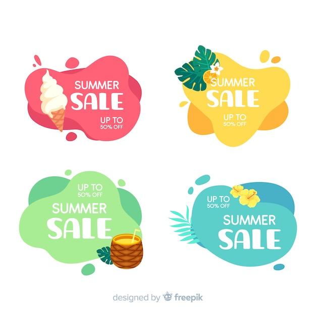 Zomer verkoop vloeibare banners sjabloon Premium Vector
