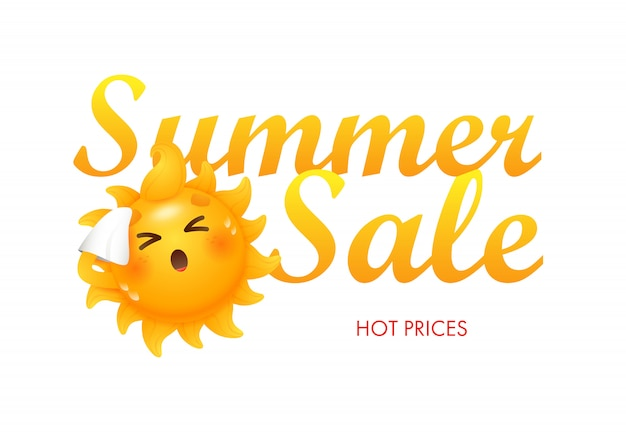 Zomer verkoop, warme prijzen belettering met zon stripfiguur Gratis Vector