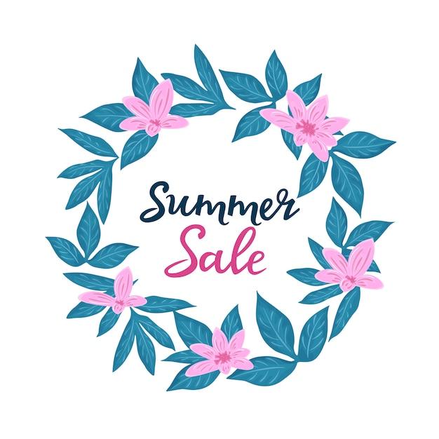 Zomer verkoopsjabloon voor seizoensgebonden kortingen. floral posters of banner ontwerp met bloemen Premium Vector