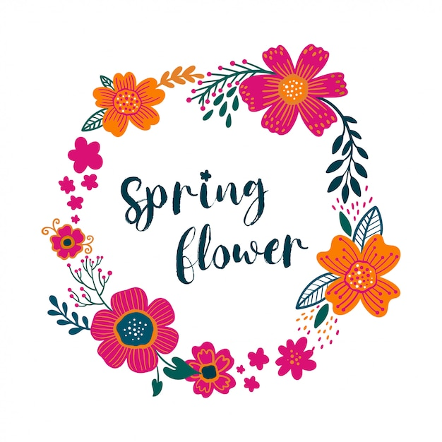 Zomer vintage floral wenskaart krans met bloeiende tuin bloemen Premium Vector