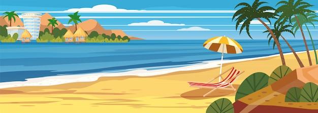 Zomer zeegezicht, strand, zomervakantie, chaise lounge paraplu op de zee Premium Vector
