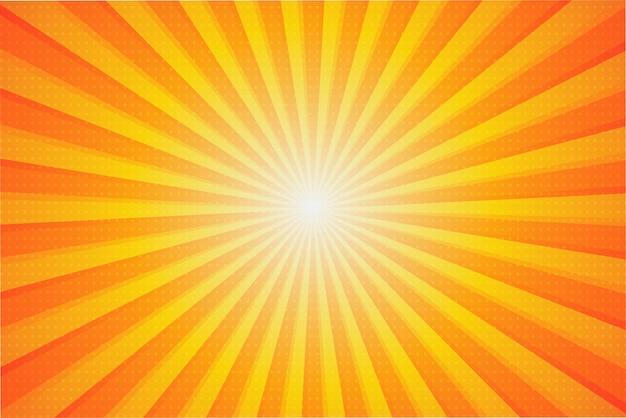 Zomer zonne-achtergrond. de zonnestralen die zich in de zomer vanuit het midden verspreiden. Premium Vector