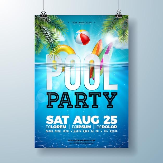 Zomer zwembad partij poster of flyer ontwerpsjabloon met palmbladeren en strandbal Premium Vector