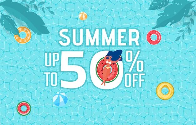 Zomer zwembad partij reclame ontwerp met meisje op rubberen ring. Premium Vector