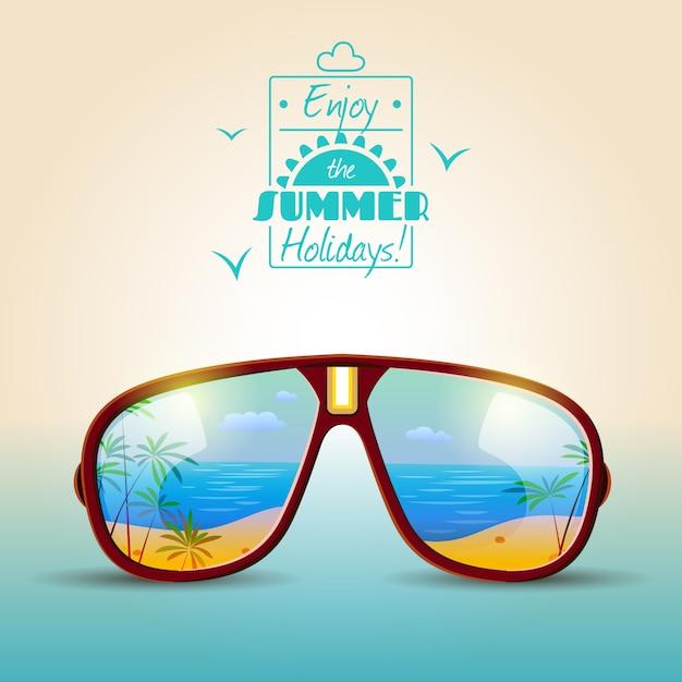 Zomeraffiche zonnebril Gratis Vector