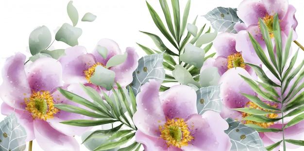 Zomerbloemen aquarel Premium Vector