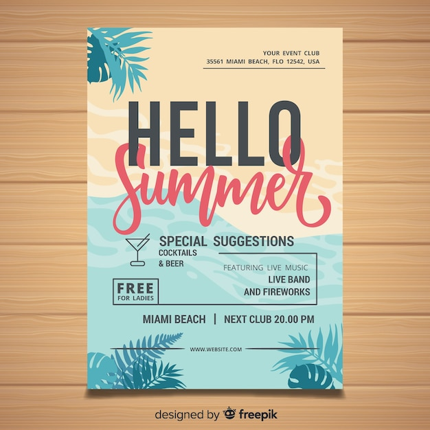 Zomerfeest flyer Gratis Vector