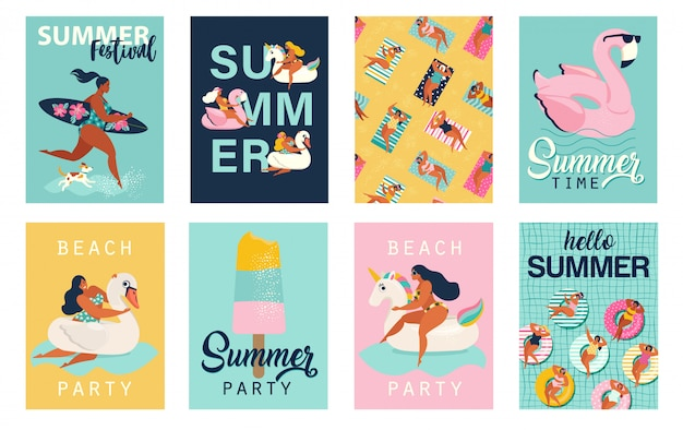 Zomerfeest. hallo zomerposters. leuke retro posters set. Premium Vector