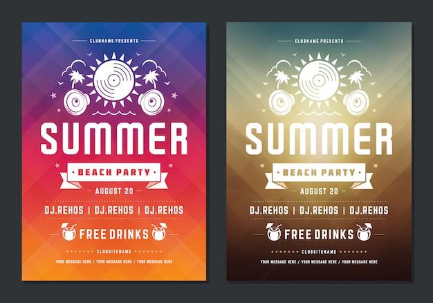 Zomerfeest ontwerp poster of flyer nachtclub evenement moderne typografie Premium Vector