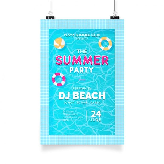 Zomerfeest poster met zwembad Gratis Vector