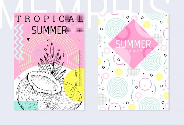 Zomerfeest poster patroon set, geometrische memphis stijl. coole trendy flyer met typecitaat. Premium Vector