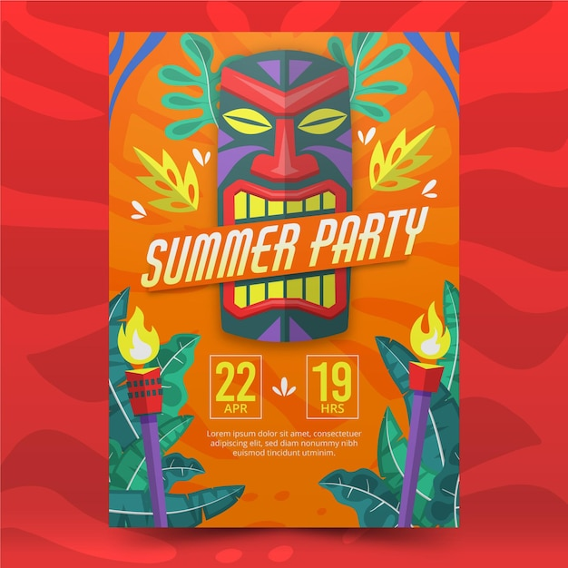 Zomerfeest tribal poster Gratis Vector