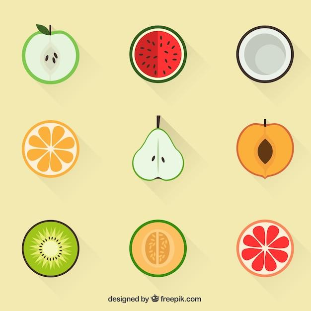 Zomerfruit pictogrammen Gratis Vector